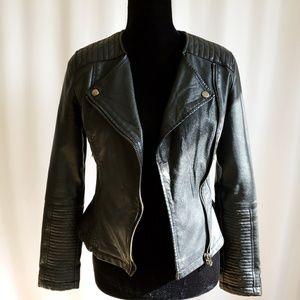 Topshop Size 2 Vegan Leather Moto Jacket Peplum